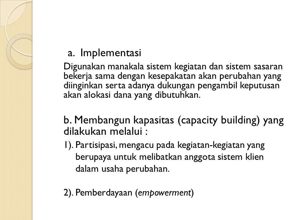 b. Membangun kapasitas (capacity building) yang dilakukan melalui :