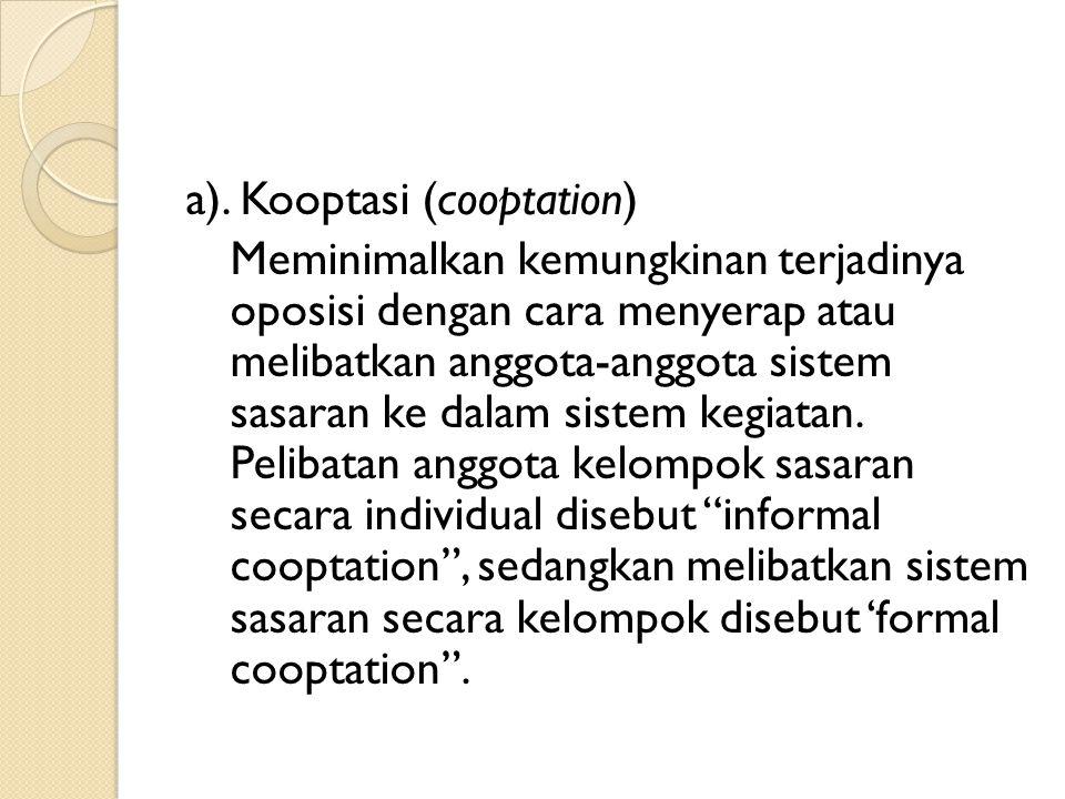 a). Kooptasi (cooptation)