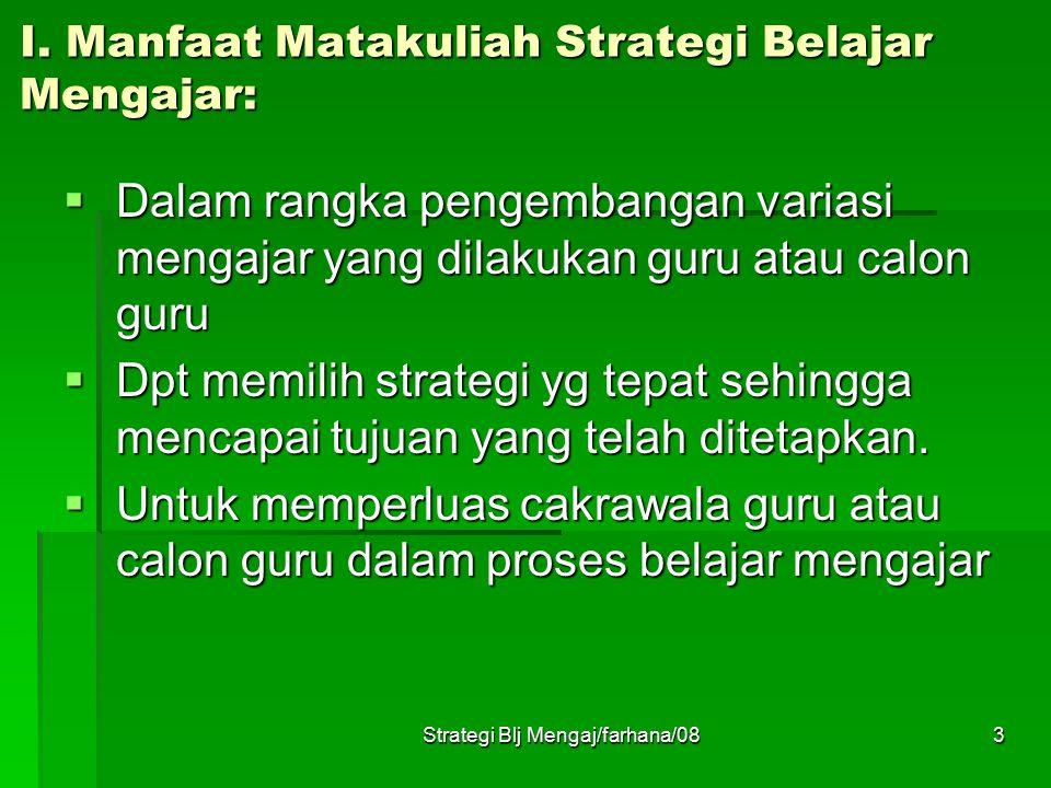 I. Manfaat Matakuliah Strategi Belajar Mengajar: