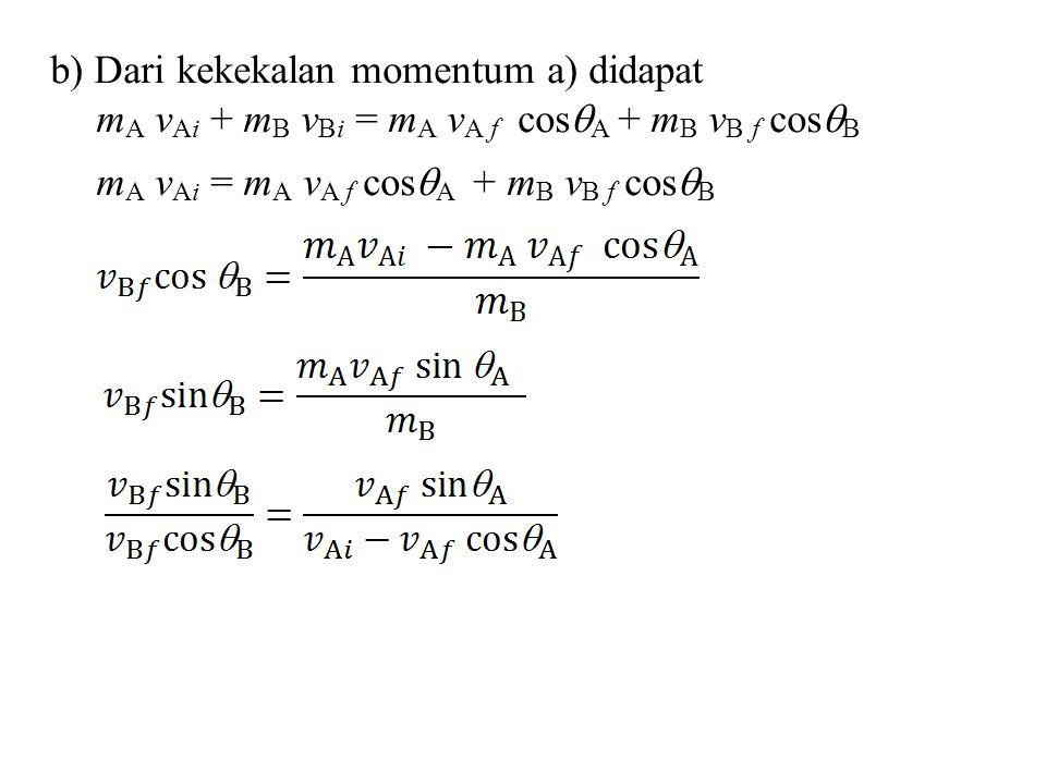 b) Dari kekekalan momentum a) didapat