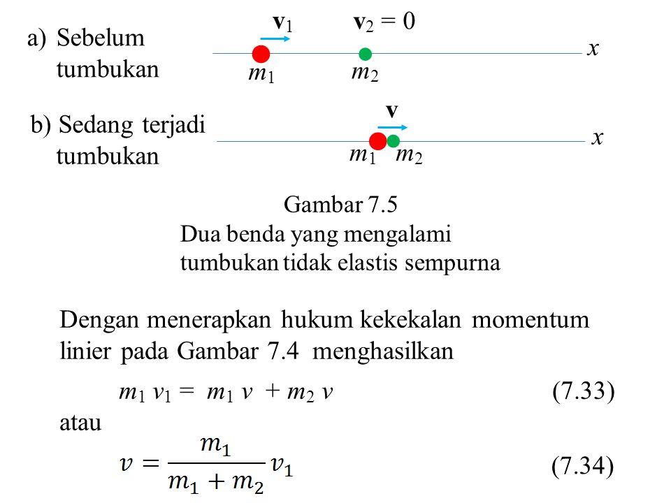   m1 m2 v1 v2 = 0 Sebelum tumbukan x m1 m2 v b) Sedang terjadi