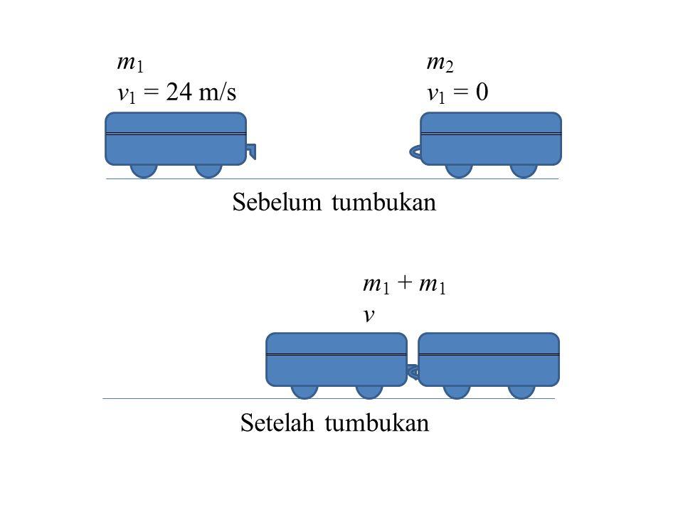 m1 v1 = 24 m/s m2 v1 = 0 Sebelum tumbukan m1 + m1 v Setelah tumbukan