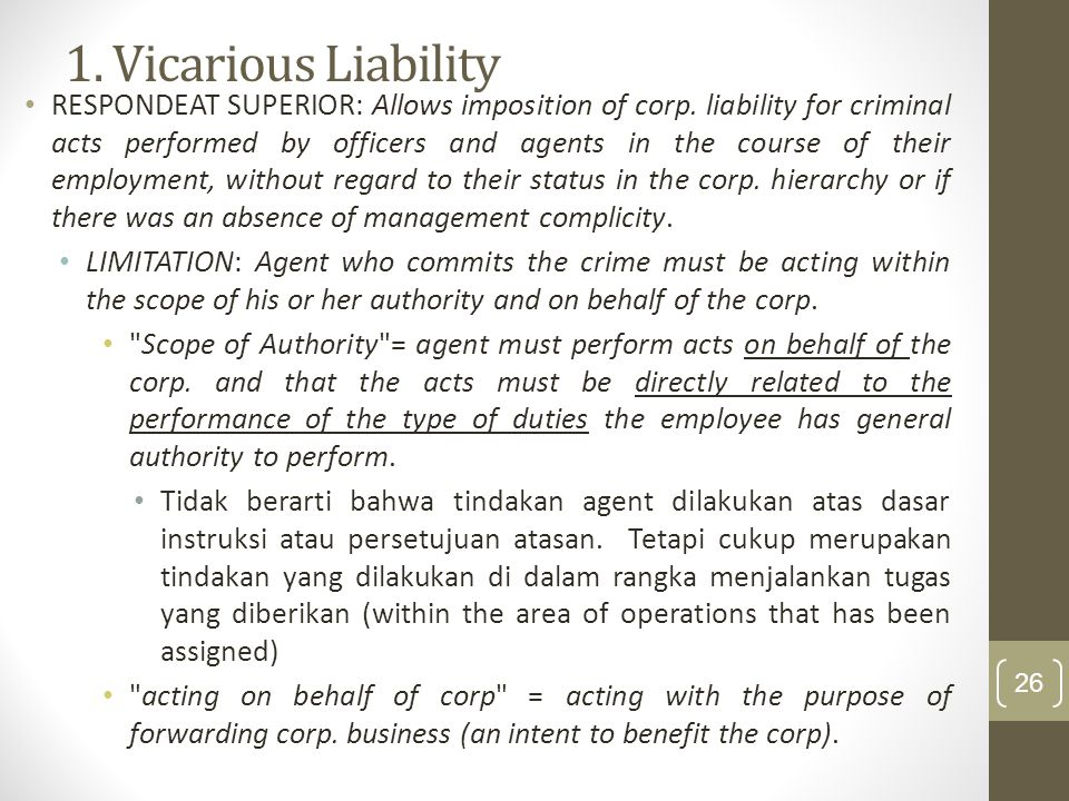 1. Vicarious Liability