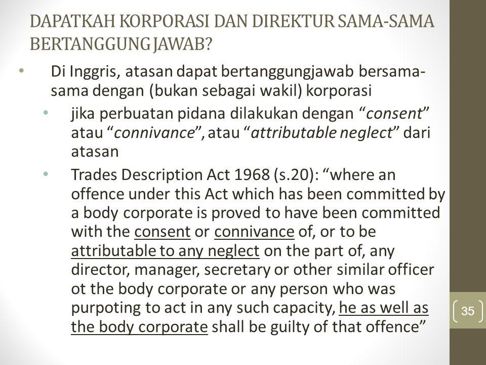 Dapatkah Korporasi dan Direktur sama-sama bertanggung jawab