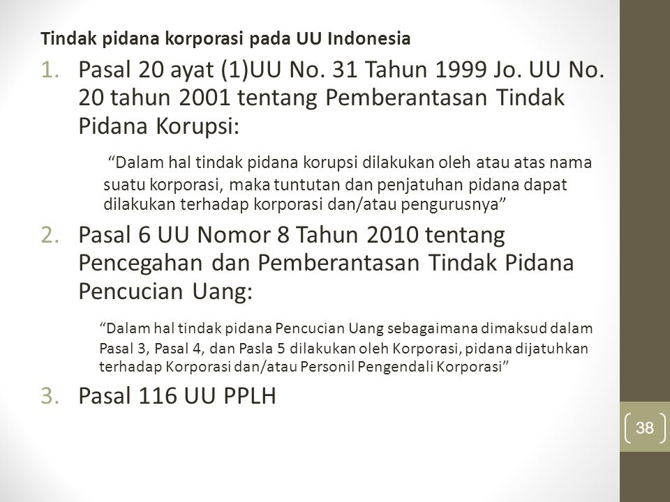 Tindak pidana korporasi pada UU Indonesia