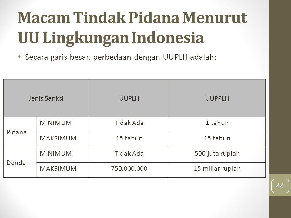 Macam Tindak Pidana Menurut UU Lingkungan Indonesia