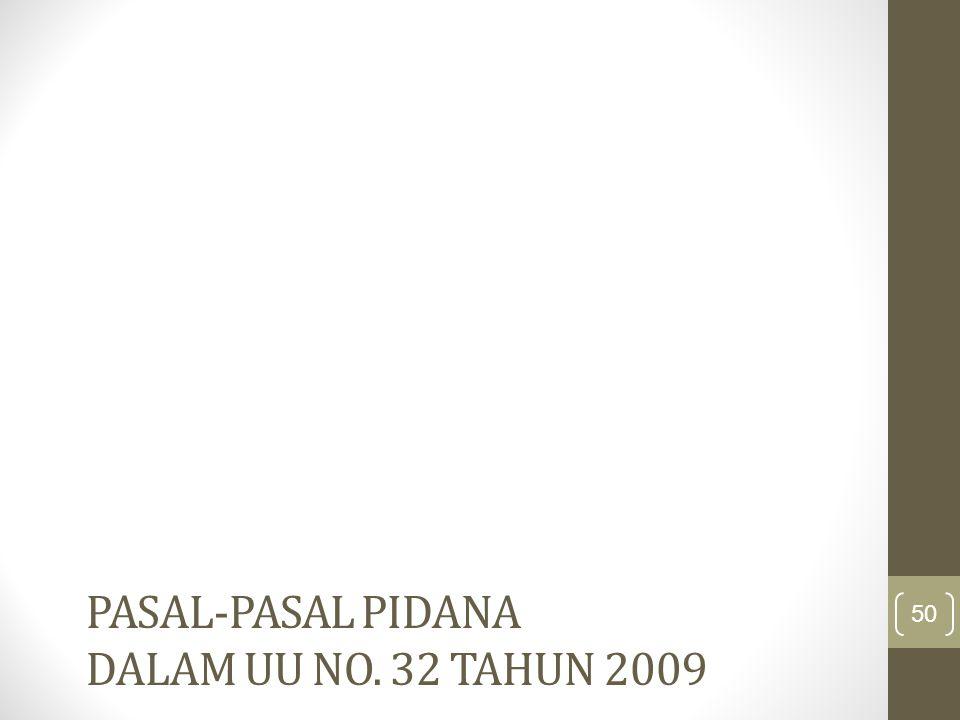 Pasal-pasal pidana dalam UU No. 32 Tahun 2009