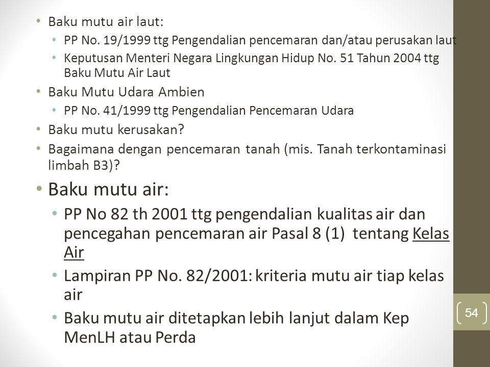 Baku mutu air laut: PP No. 19/1999 ttg Pengendalian pencemaran dan/atau perusakan laut.