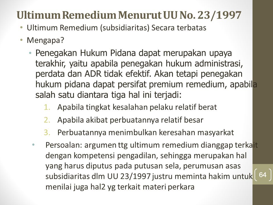 Ultimum Remedium Menurut UU No. 23/1997