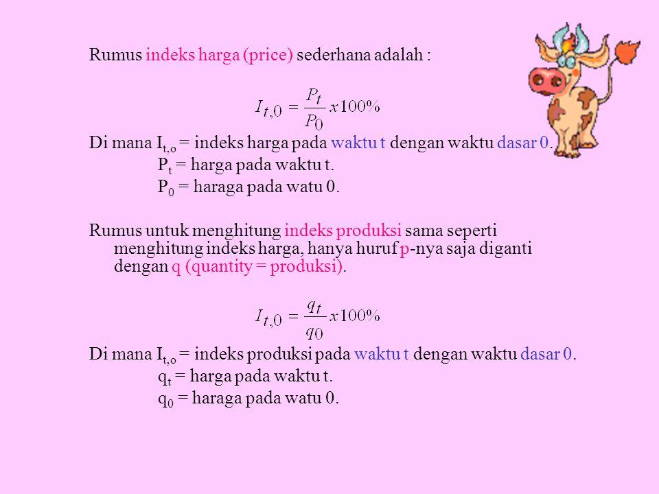 Rumus indeks harga (price) sederhana adalah :