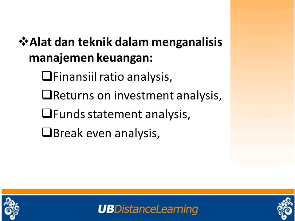 Alat dan teknik dalam menganalisis manajemen keuangan: