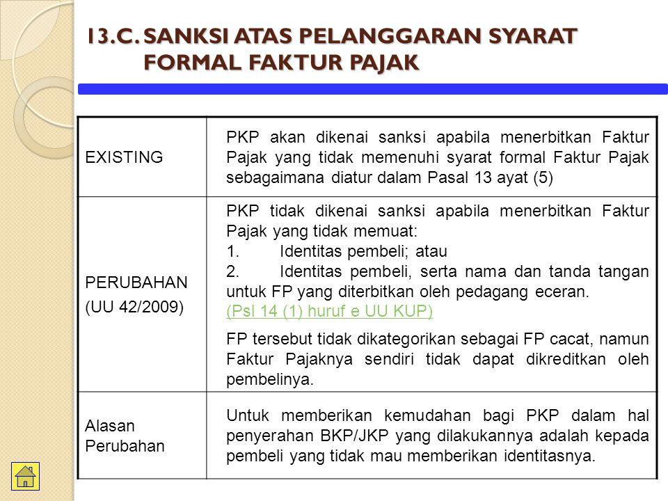 13.C. SANKSI ATAS PELANGGARAN SYARAT FORMAL FAKTUR PAJAK