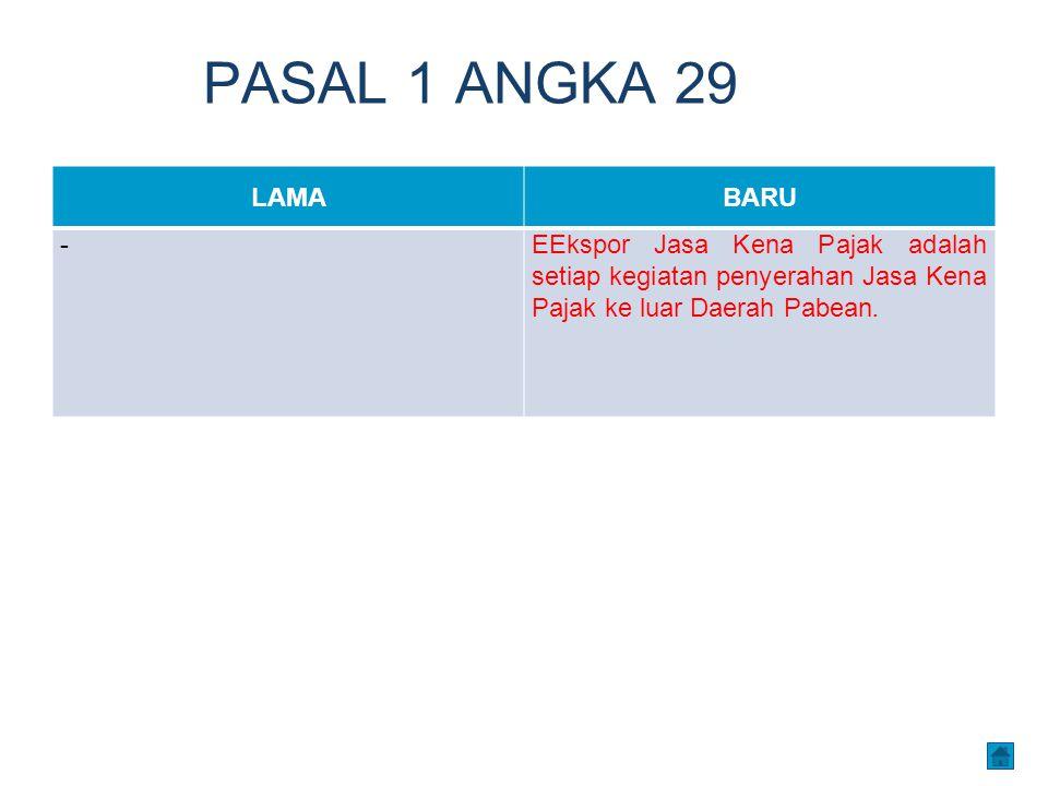 PASAL 1 ANGKA 29 LAMA. BARU. - EEkspor Jasa Kena Pajak adalah setiap kegiatan penyerahan Jasa Kena Pajak ke luar Daerah Pabean.