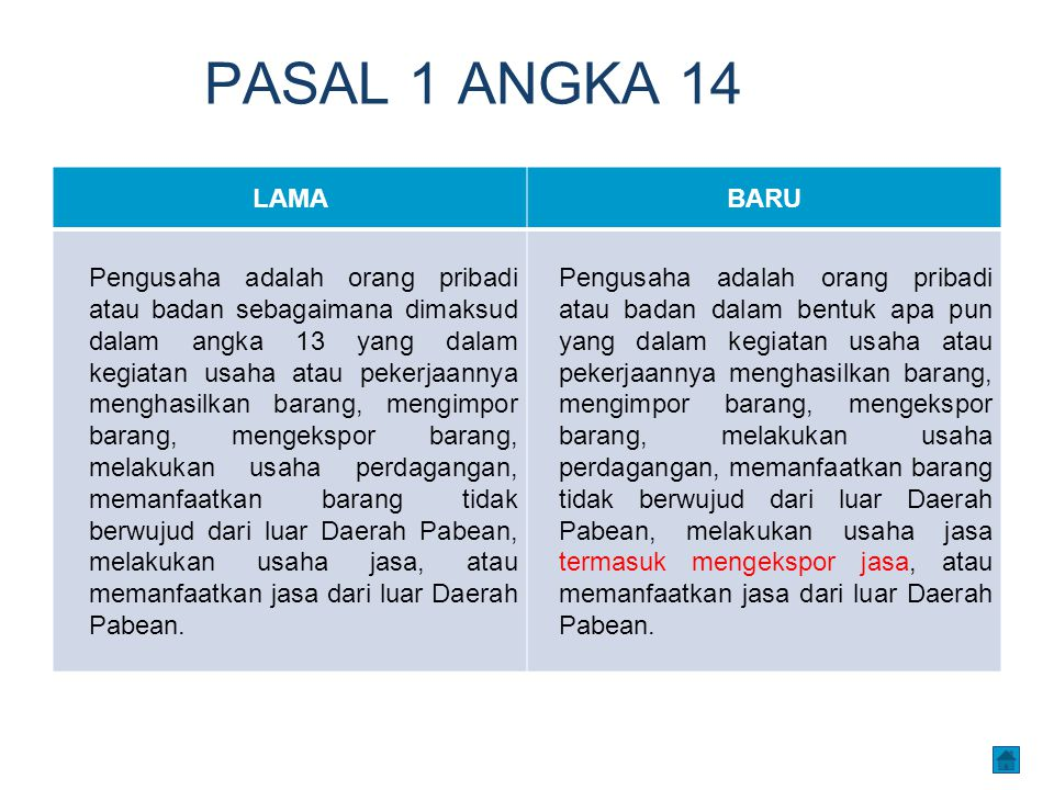PASAL 1 ANGKA 14 LAMA. BARU.