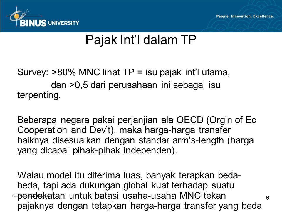 Pajak Int'l dalam TP Survey: >80% MNC lihat TP = isu pajak int'l utama, dan >0,5 dari perusahaan ini sebagai isu terpenting.