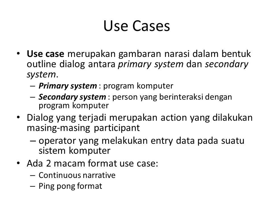 Use Cases Use case merupakan gambaran narasi dalam bentuk outline dialog antara primary system dan secondary system.