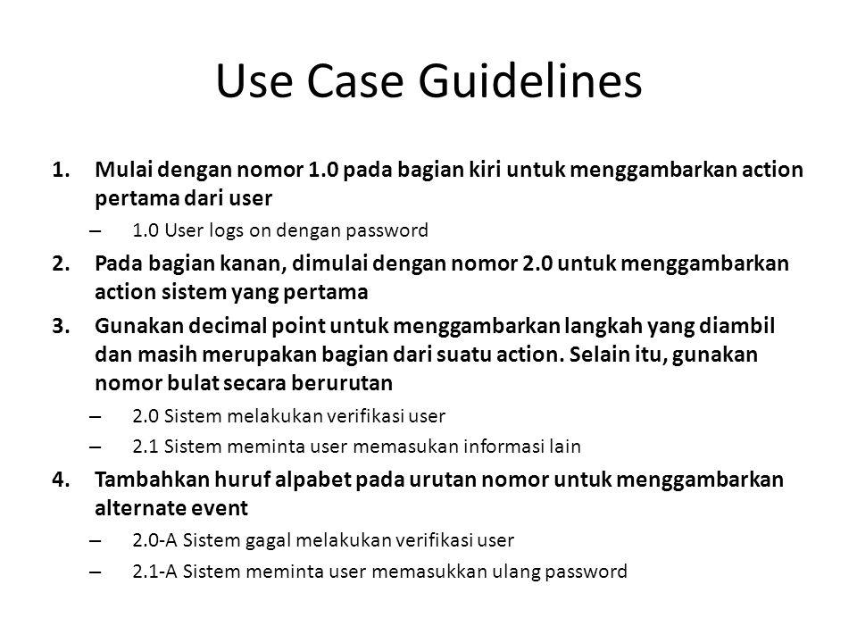 Use Case Guidelines Mulai dengan nomor 1.0 pada bagian kiri untuk menggambarkan action pertama dari user.