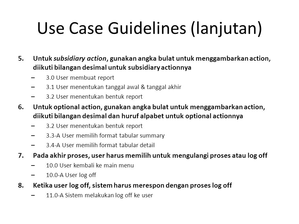 Use Case Guidelines (lanjutan)