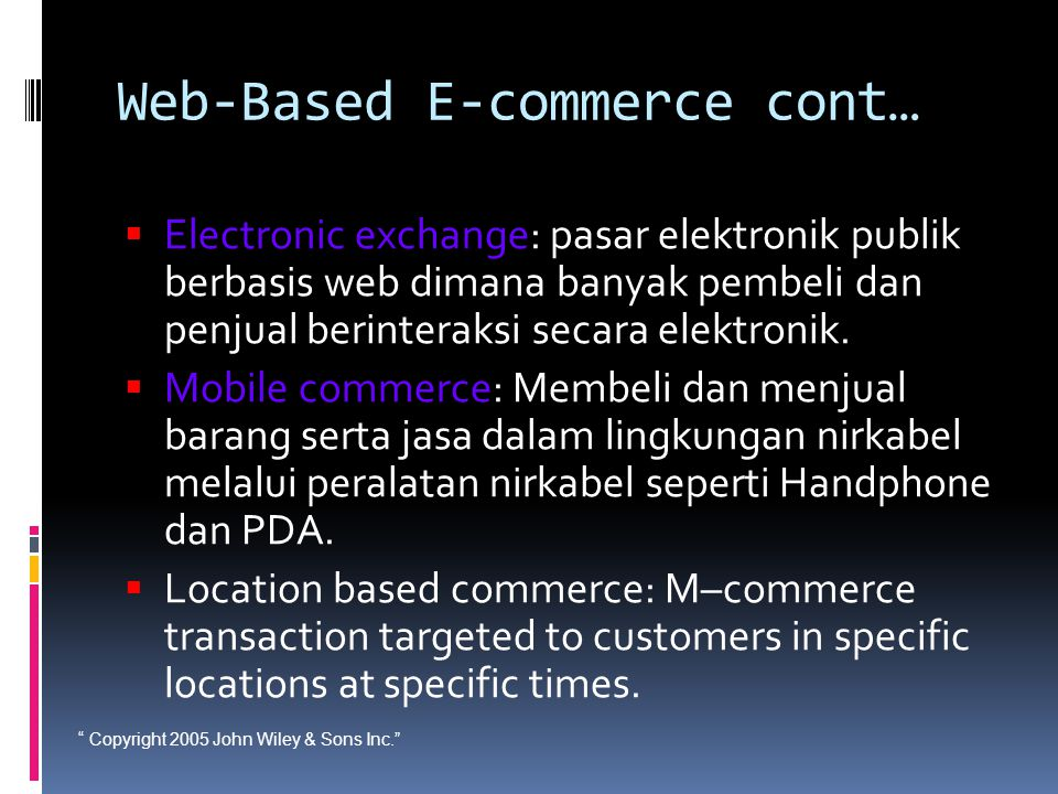Web-Based E-commerce cont…
