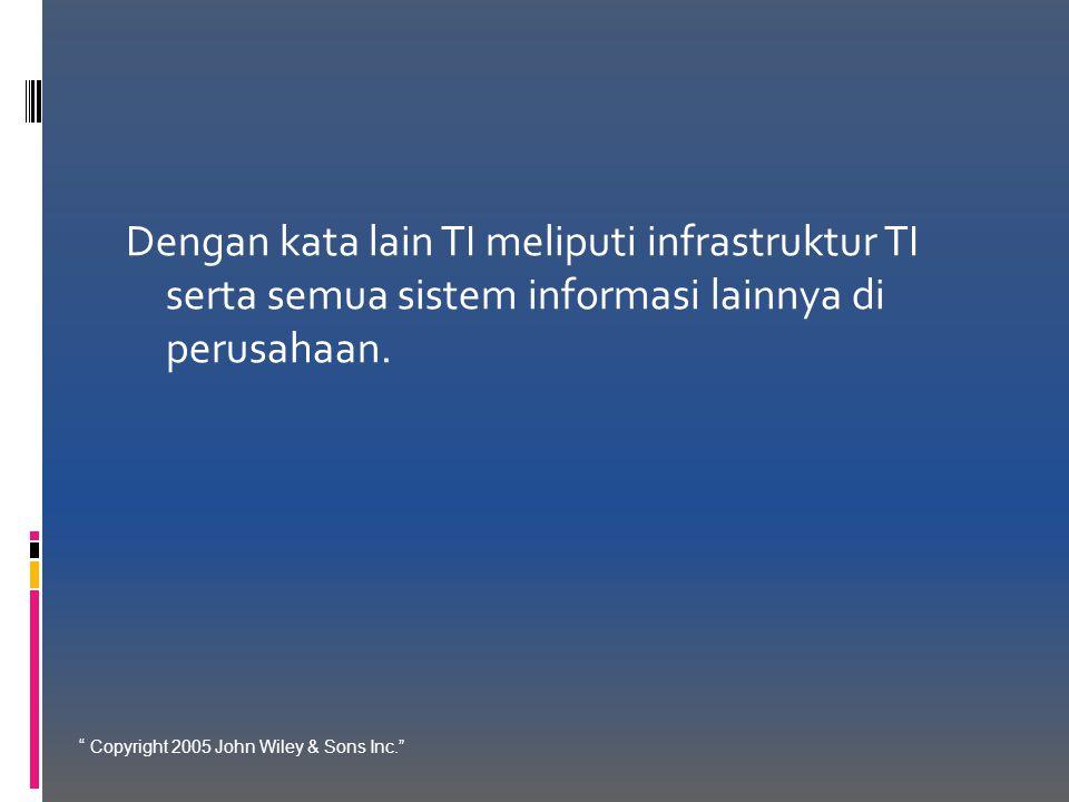 Dengan kata lain TI meliputi infrastruktur TI serta semua sistem informasi lainnya di perusahaan.