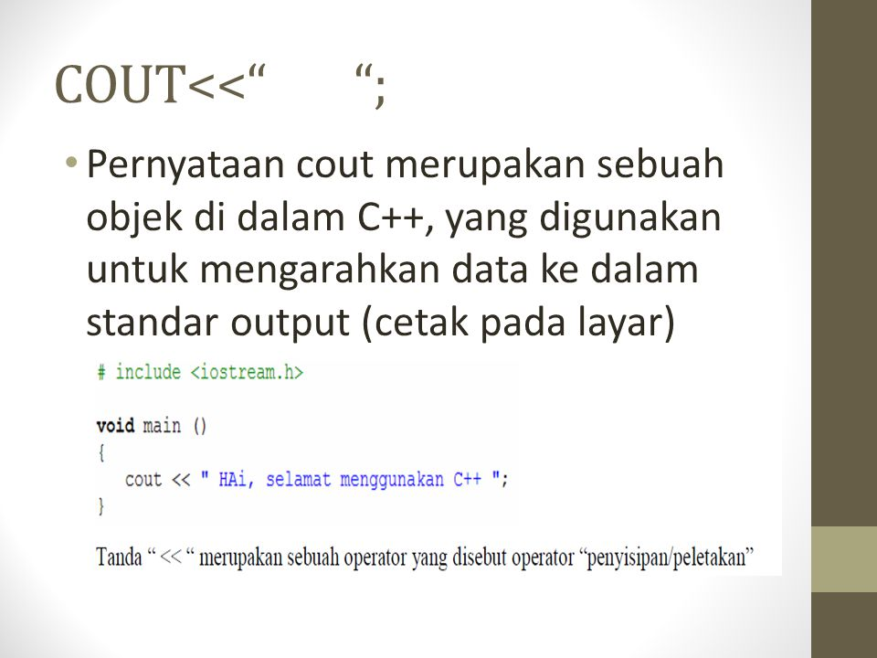 COUT<< ;