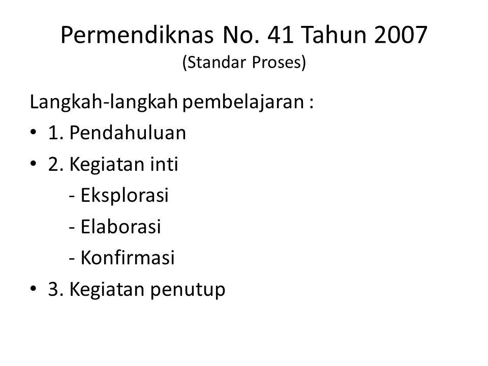 Permendiknas No. 41 Tahun 2007 (Standar Proses)