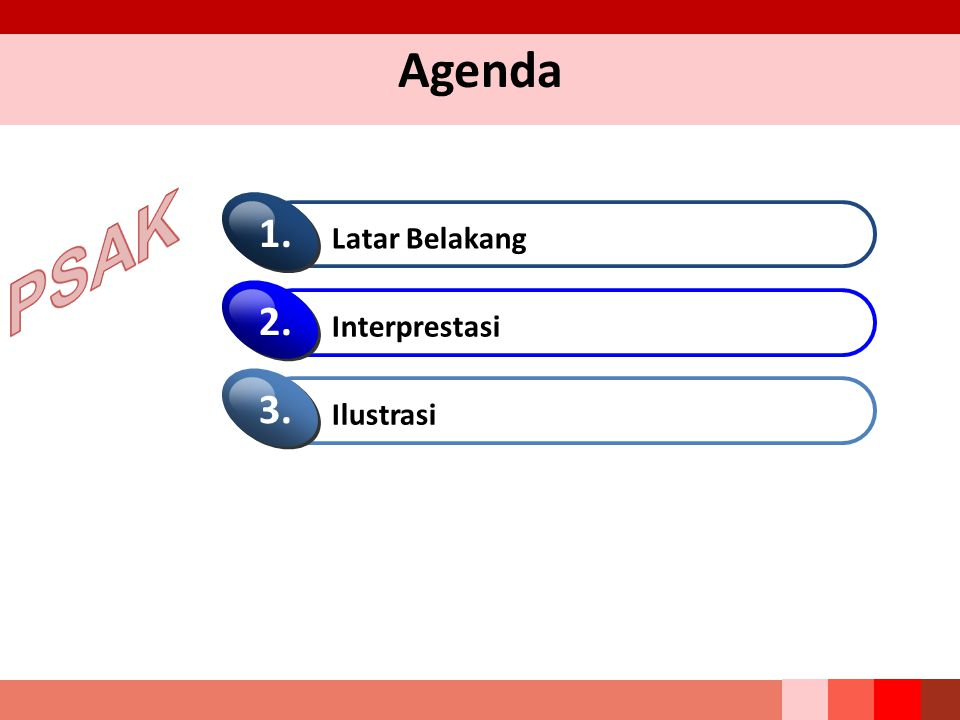 Agenda PSAK Latar Belakang 1. Interprestasi 2. Ilustrasi 3.