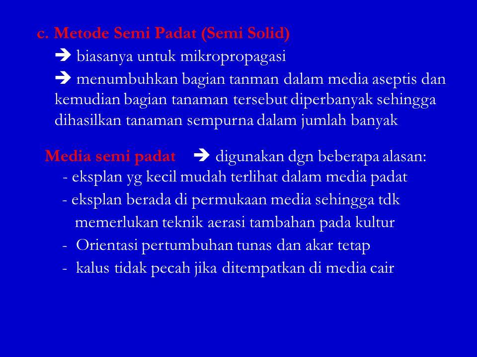c. Metode Semi Padat (Semi Solid)