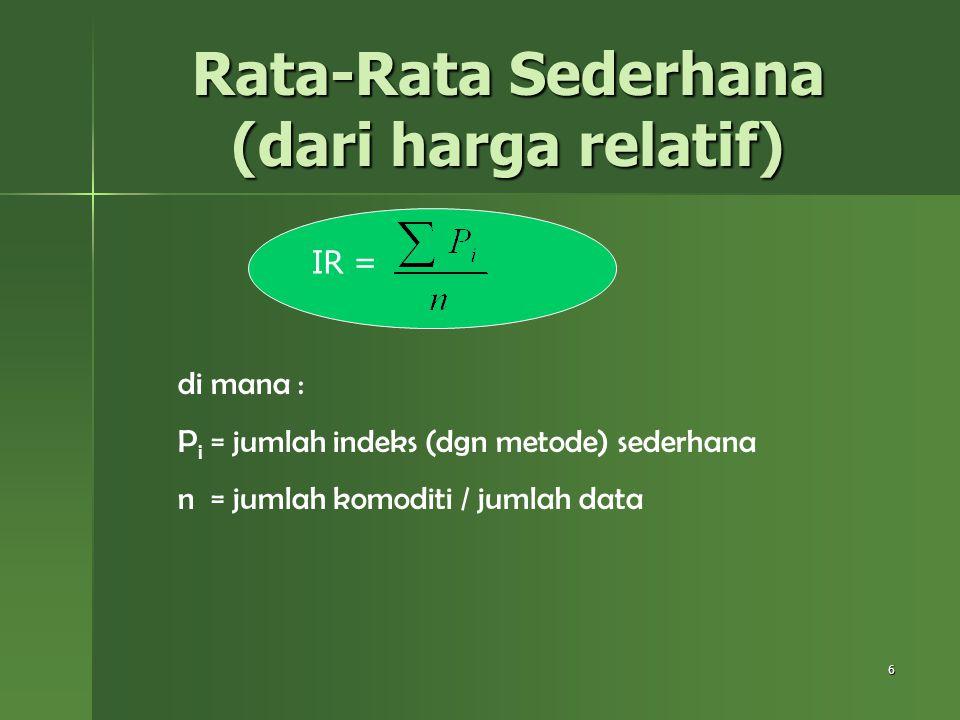 Rata-Rata Sederhana (dari harga relatif)