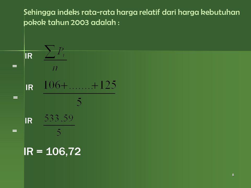 Sehingga indeks rata-rata harga relatif dari harga kebutuhan pokok tahun 2003 adalah :