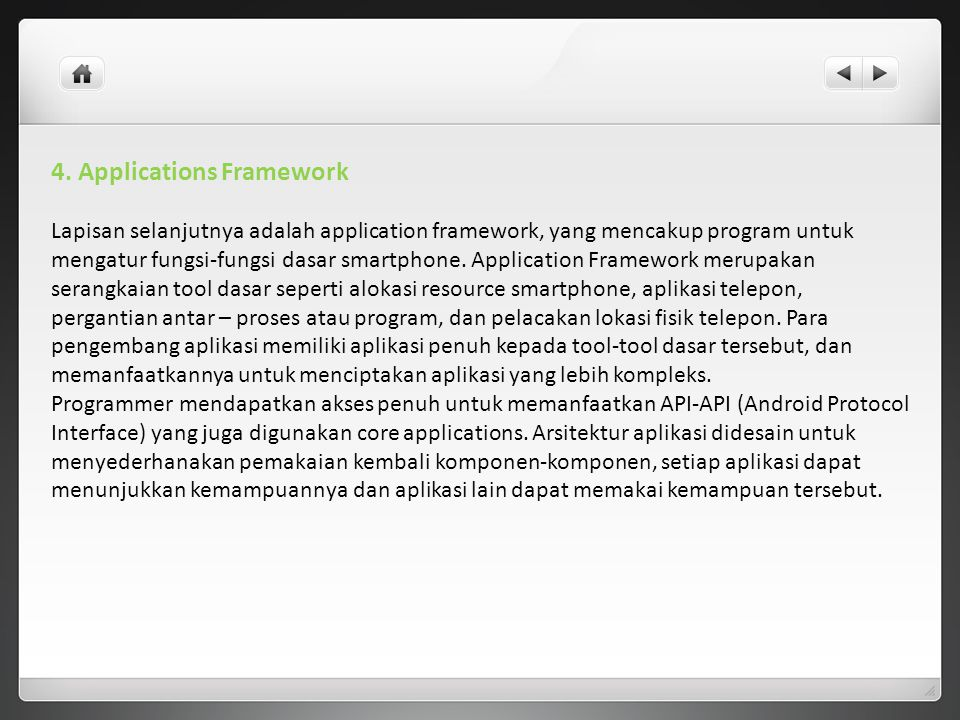 4. Applications Framework