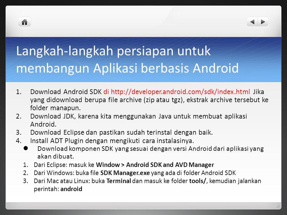 Langkah-langkah persiapan untuk membangun Aplikasi berbasis Android