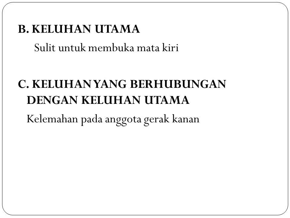 B. KELUHAN UTAMA Sulit untuk membuka mata kiri C
