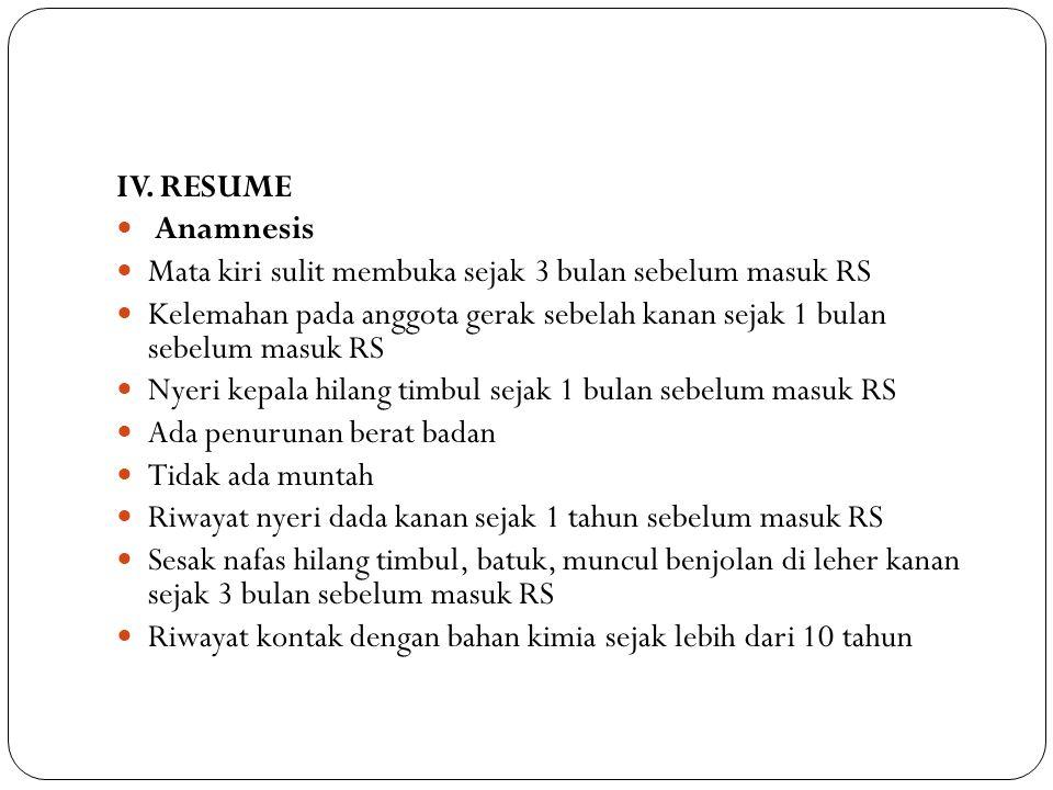 IV. RESUME Anamnesis. Mata kiri sulit membuka sejak 3 bulan sebelum masuk RS.