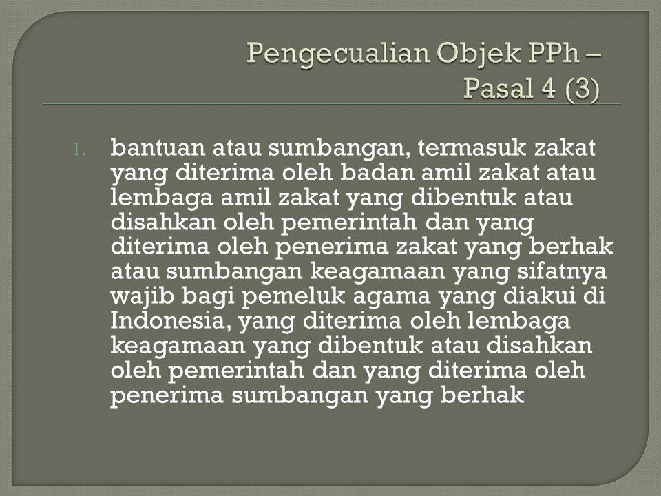 Pengecualian Objek PPh – Pasal 4 (3)