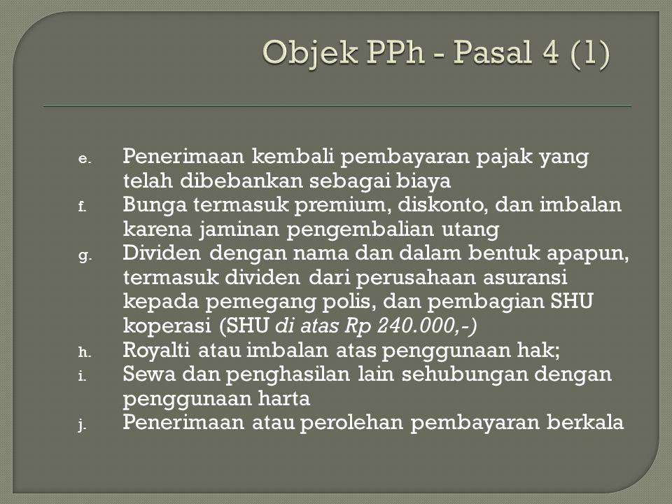 Objek PPh - Pasal 4 (1) Penerimaan kembali pembayaran pajak yang telah dibebankan sebagai biaya.