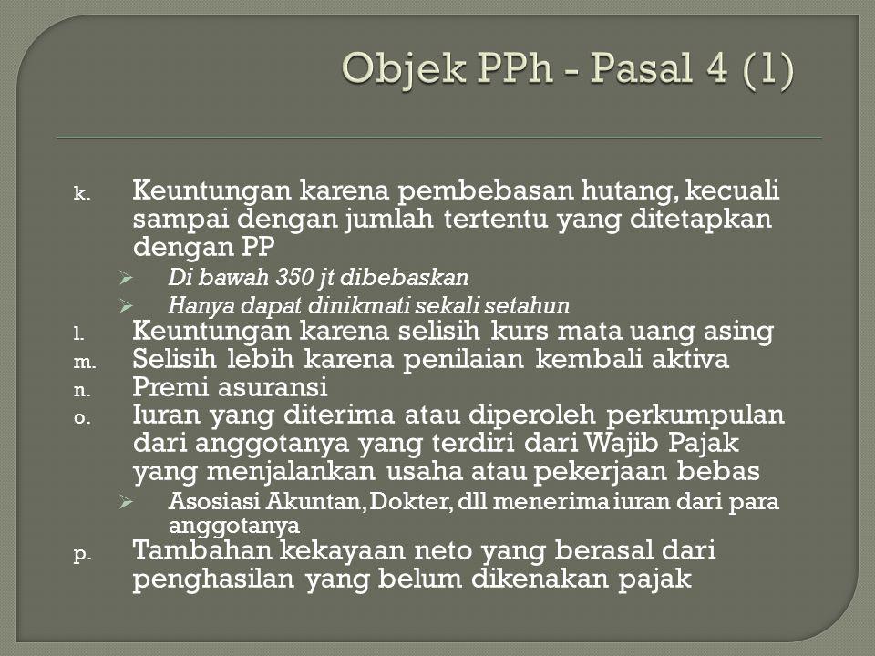 Objek PPh - Pasal 4 (1) Keuntungan karena pembebasan hutang, kecuali sampai dengan jumlah tertentu yang ditetapkan dengan PP.