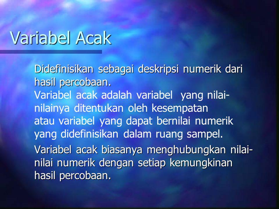 Variabel Acak Didefinisikan sebagai deskripsi numerik dari hasil percobaan.