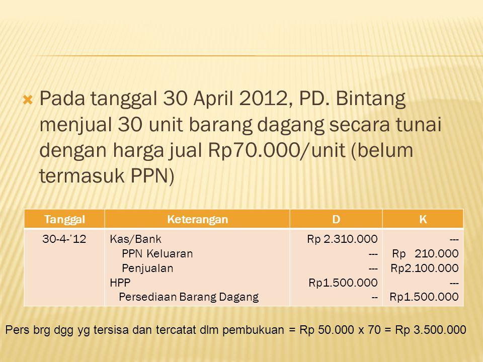 Pada tanggal 30 April 2012, PD. Bintang menjual 30 unit barang dagang secara tunai dengan harga jual Rp70.000/unit (belum termasuk PPN)