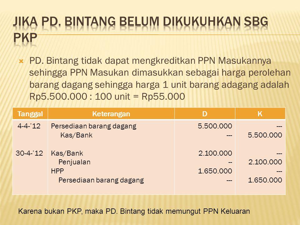 Jika PD. Bintang belum dikukuhkan sbg PKP
