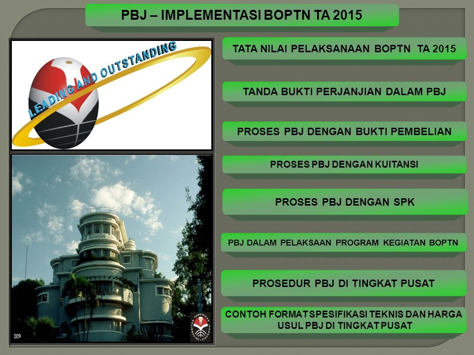 PBJ – IMPLEMENTASI BOPTN TA 2015