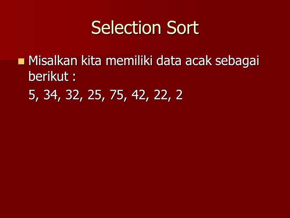 Selection Sort Misalkan kita memiliki data acak sebagai berikut :