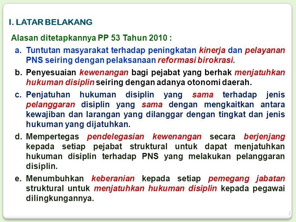 I. LATAR BELAKANG Alasan ditetapkannya PP 53 Tahun 2010 :