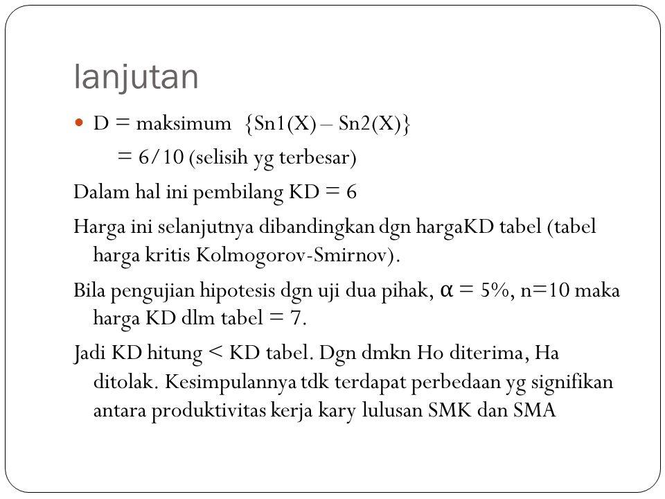 lanjutan D = maksimum {Sn1(X) – Sn2(X)} = 6/10 (selisih yg terbesar)