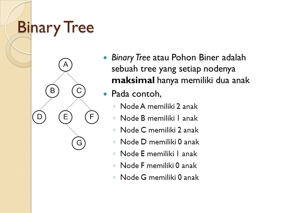 Binary Tree Binary Tree atau Pohon Biner adalah sebuah tree yang setiap nodenya maksimal hanya memiliki dua anak.