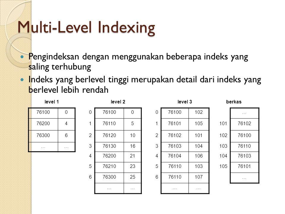 Multi-Level Indexing Pengindeksan dengan menggunakan beberapa indeks yang saling terhubung.