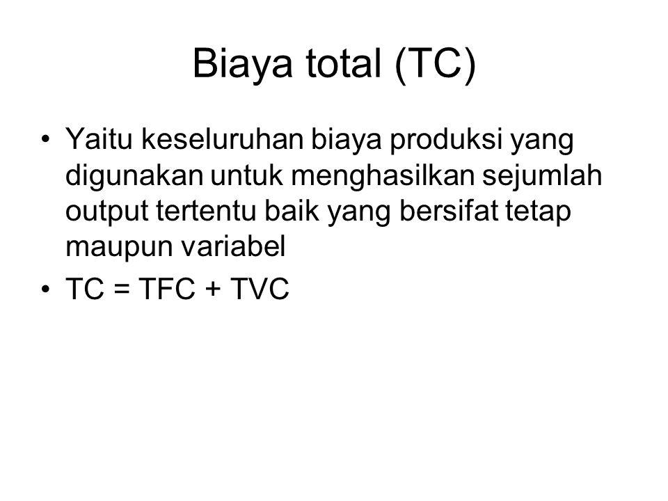 Biaya total (TC) Yaitu keseluruhan biaya produksi yang digunakan untuk menghasilkan sejumlah output tertentu baik yang bersifat tetap maupun variabel.