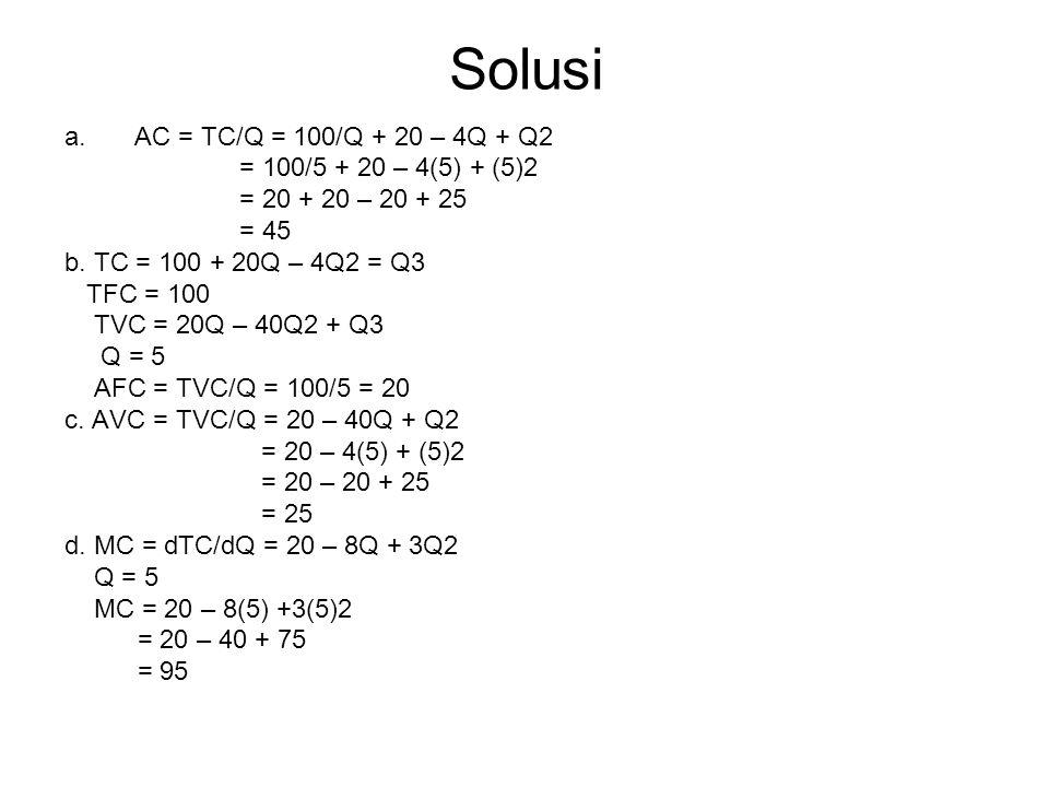 Solusi AC = TC/Q = 100/Q + 20 – 4Q + Q2 = 100/5 + 20 – 4(5) + (5)2