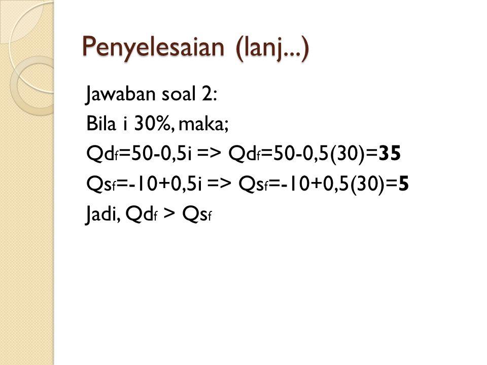 Penyelesaian (lanj...) Jawaban soal 2: Bila i 30%, maka; Qdf=50-0,5i => Qdf=50-0,5(30)=35 Qsf=-10+0,5i => Qsf=-10+0,5(30)=5 Jadi, Qdf > Qsf