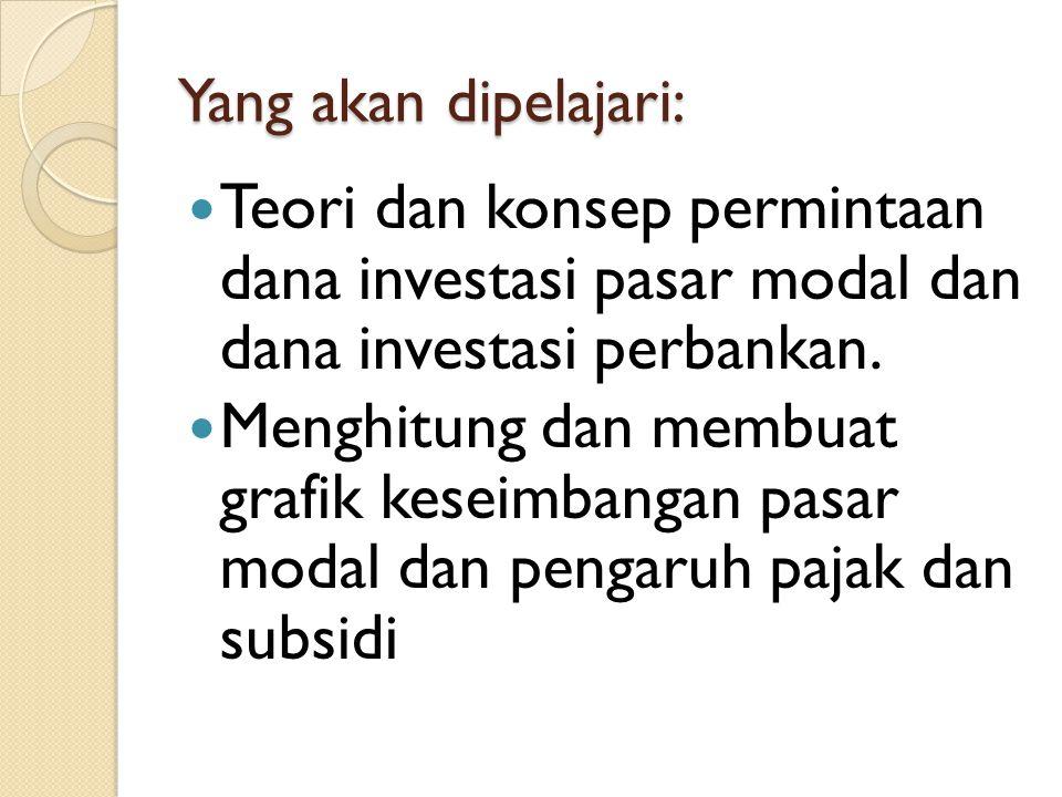 Yang akan dipelajari: Teori dan konsep permintaan dana investasi pasar modal dan dana investasi perbankan.